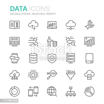 Collection of data related line icons. 48x48 Pixel Perfect. Editable stroke