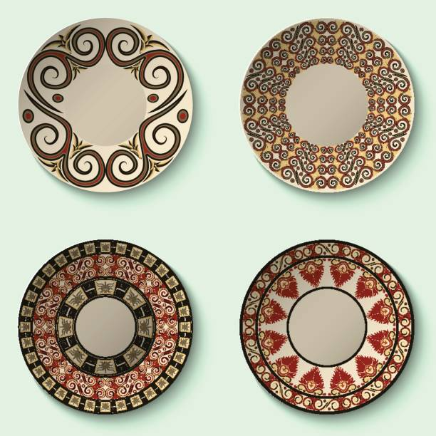 Collection of decorative ceramic dishes with ancient ornament. vector art illustration