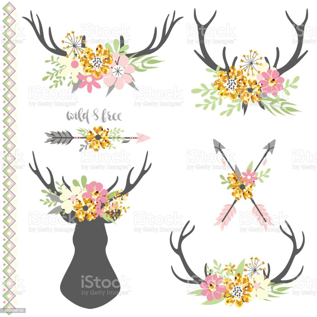 Collection of deer horns with flowers vector art illustration