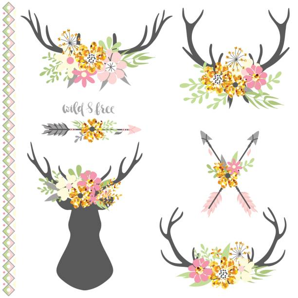 collection of deer horns with flowers - deer antlers stock illustrations, clip art, cartoons, & icons