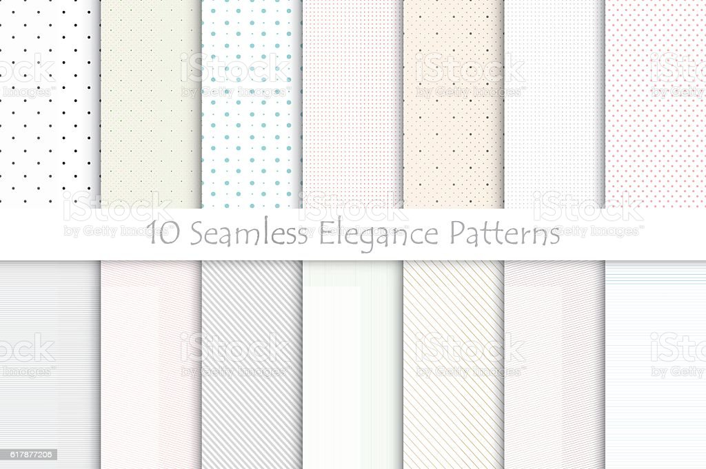 Collection of delicate seamless patterns. royalty-free collection of delicate seamless patterns stock illustration - download image now