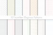 Collection of delicate seamless patterns. Striped - dotted design.