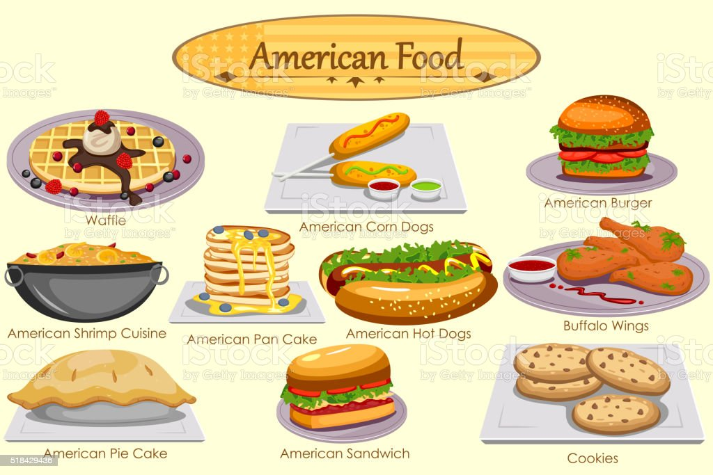 Collection of delicious American food vector art illustration