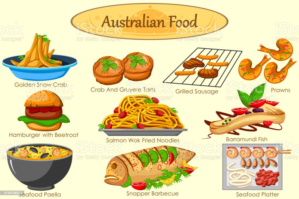 Collection of delicious Australian food vector art illustration