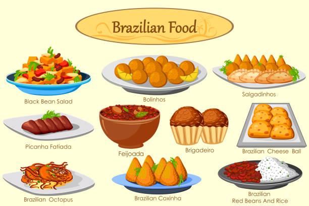 ilustrações, clipart, desenhos animados e ícones de coleção de deliciosos pratos brasileiros - comida salgada