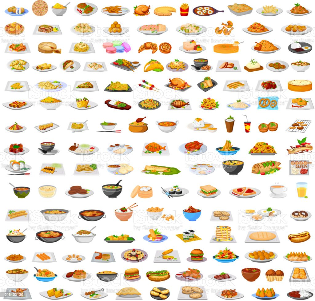 Collection of delicious food vector art illustration