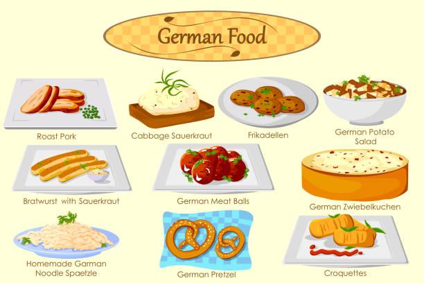 sammlung von köstlichen deutschen küche - sauerkraut stock-grafiken, -clipart, -cartoons und -symbole