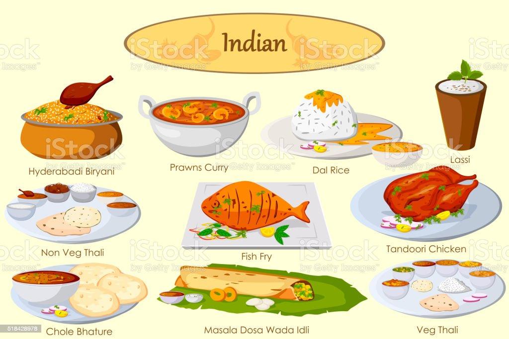 Collection de délicieux plats indiens - Illustration vectorielle