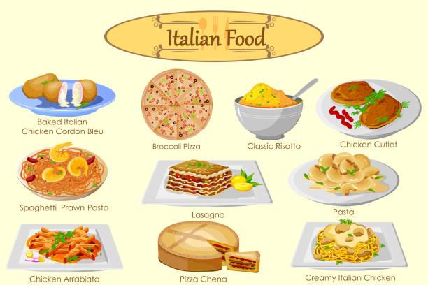 sammlung von köstlichen italienischen speisen - risotto stock-grafiken, -clipart, -cartoons und -symbole
