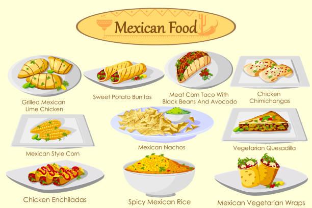 sammlung von köstliche mexikanische küche - chimichanga stock-grafiken, -clipart, -cartoons und -symbole