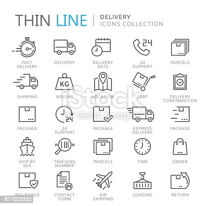 istock Collection of delivery thin line icons 877023332