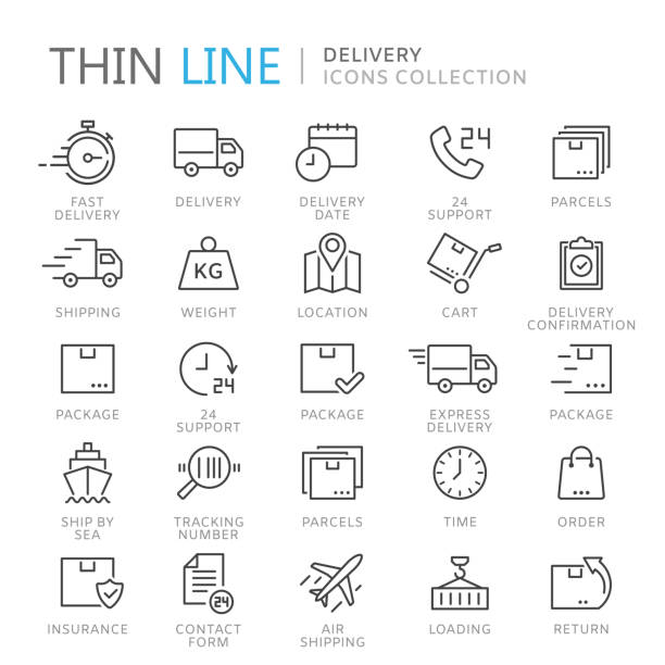 Collection of delivery thin line icons vector art illustration