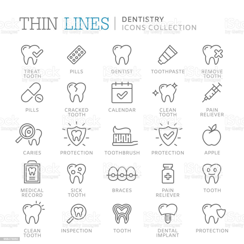 Collection of dentistry thin line icons. vector art illustration