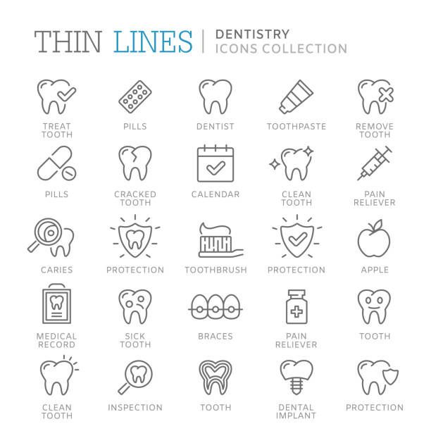 illustrazioni stock, clip art, cartoni animati e icone di tendenza di collection of dentistry thin line icons. - denti