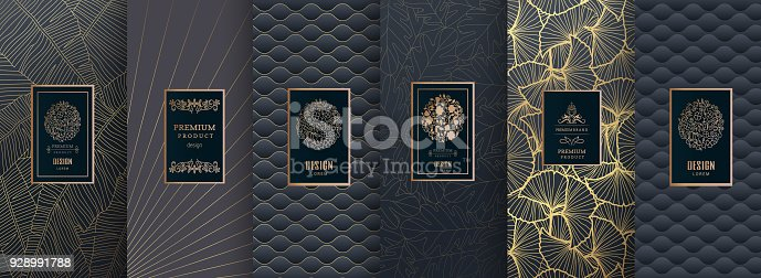 istock Collection of design elements, labels, icon, frames, for packaging, design of luxury products. for perfume, soap, wine, lotion.Made with golden foil.Isolated on silver and bronze background. vector illustration 928991788