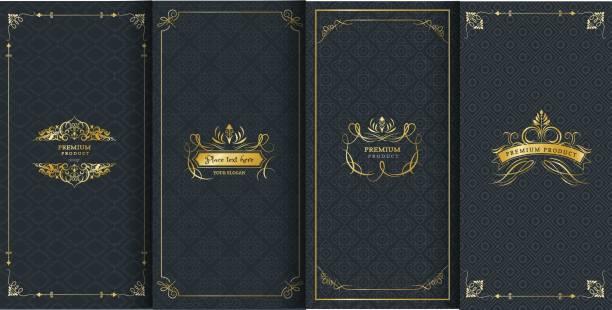 sammlung von design-elemente, etiketten, symbol und rahmen für verpackung und design des luxus-produkte. mit goldener folie isoliert auf schwarzen hintergrund gemacht. vektor-illustration - weinkarte stock-grafiken, -clipart, -cartoons und -symbole