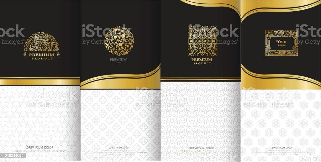 Colección de elementos de diseño, etiquetas, icono y marcos para embalaje - ilustración de arte vectorial