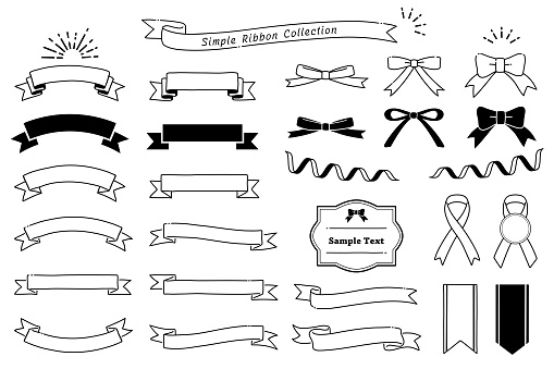 Collection of design elements with a ribbon motif  (monochrome)