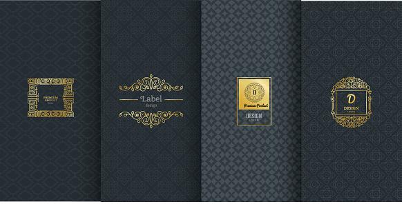 Collection Of Design Elementslabelsiconframes For Packaging向量圖形及更多一組物體圖片