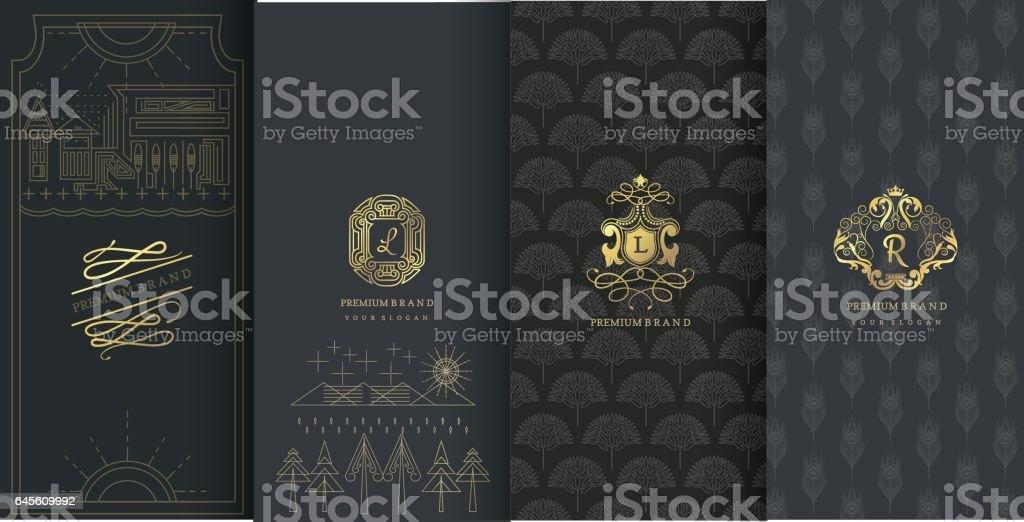 Coleção de elementos de design de rótulos, ícone, quadros, para embalagens - ilustração de arte em vetor