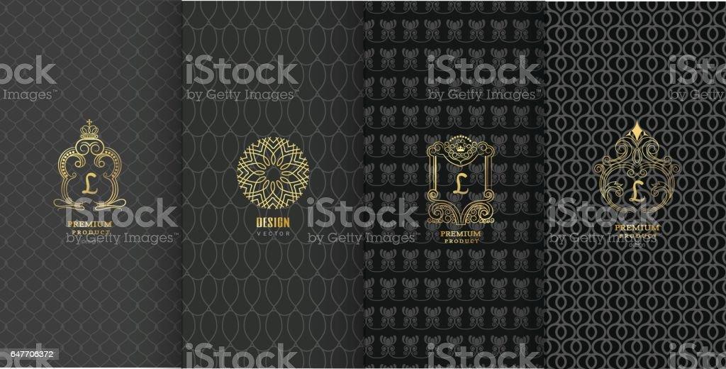 Colección de elementos de diseño, icono, etiquetas, Marcos, para el envasado - ilustración de arte vectorial