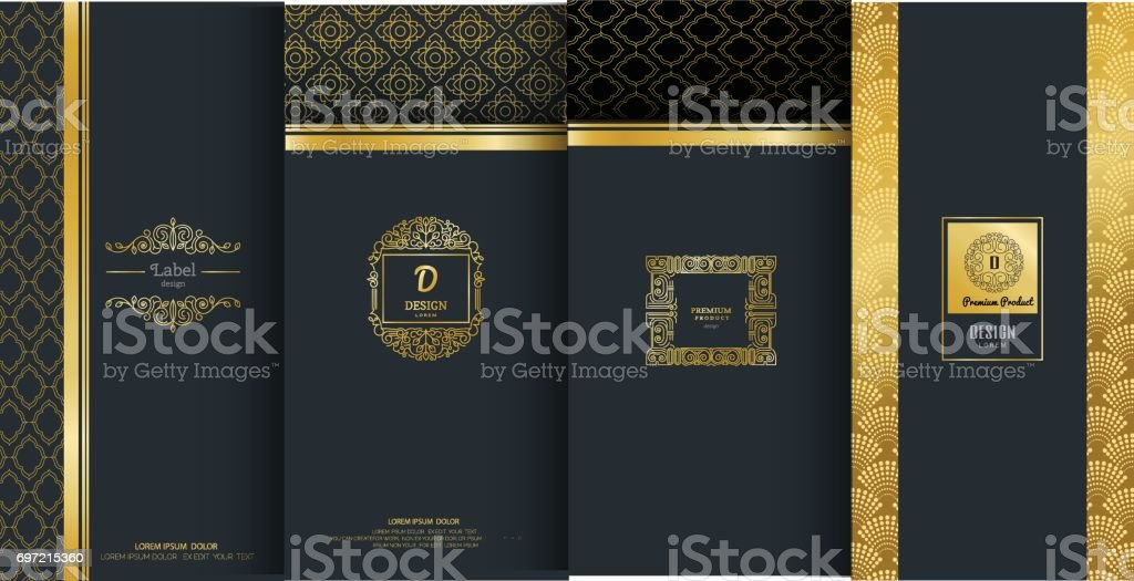 Collection of design elements,labels,icon,frames, for packaging,design of luxury products.Made with golden foil.Isolated on black background. vector illustration vector art illustration