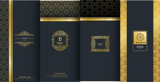 sammlung von etiketten, symbol, design-elemente, rahmen, für verpackungsdesign luxusprodukte. mit goldfolie gemacht. auf schwarzem hintergrund isoliert. vektor-illustration - weinkarte stock-grafiken, -clipart, -cartoons und -symbole