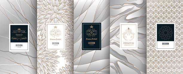 collection of design elements,labels,icon,frames, for packaging,design of luxury products.made with golden foil.isolated on silver and marble background. vector illustration - jewelry stock illustrations