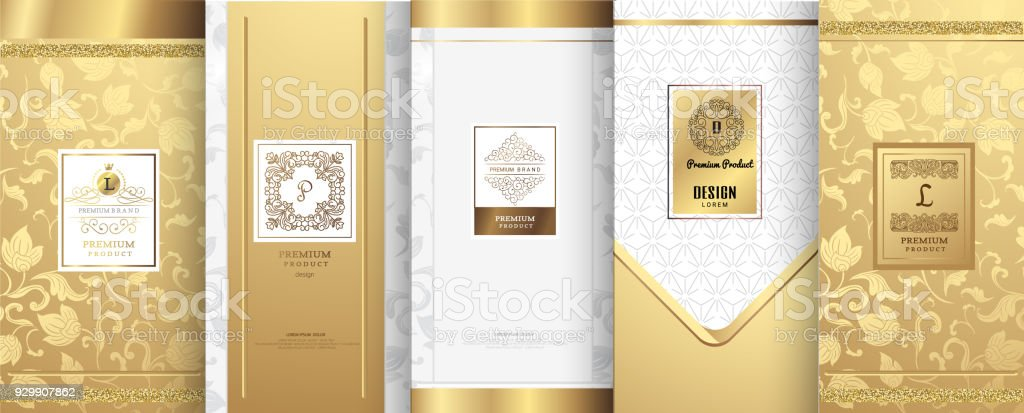 Collection of design elements,labels,icon,frames, for packaging,design of luxury products.for perfume,soap,wine, lotion.Made with golden foil.Isolated on white background.vector illustration