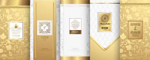 kolekcja elementów projektowych, etykiet, ikon, ikon, ramek, do pakowania, projektowania produktów luksusowych.perfum, mydła, wina, balsamu. wykonane ze złotej folii. izolowane na białym tle.wektor ilustracji - tajlandia stock illustrations