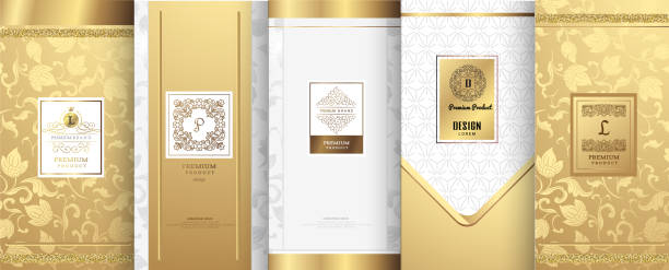 collection of design elements,labels,icon,frames, for packaging,design of luxury products.for perfume,soap,wine, lotion.made with golden foil.isolated on white background.vector illustration - elegance stock illustrations