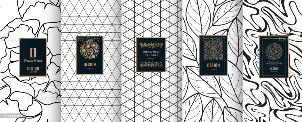 Collection of design elements,labels,icon,frames, for packaging,design of luxury products.for perfume,soap,wine, lotion.Made with golden foil.Isolated on geometric background.vector illustration vector art illustration
