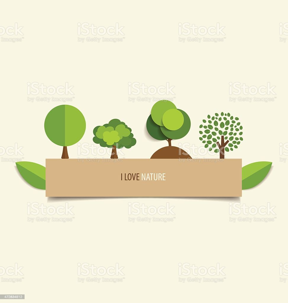 Collection of design tree. Vector illustration. vector art illustration