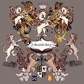 collection of detailed design with coat of arms in luxury style. Swirls, unicorns, lions, shields