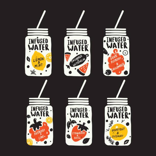 illustrations, cliparts, dessins animés et icônes de collection de boissons détox, isolées sur fond noir. eau infusée. illustration et lettrage dessinés à la main. - infusion pamplemousse