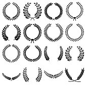 Collection of different black and white silhouette circular laurel foliate, olive,  wheat and oak wreaths depicting an award, achievement, heraldry, nobility. Vector illustration isolated on white background