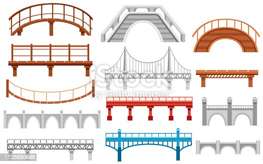 Collection of different bridges. City architecture flat icon. Vector illustration isolated on white background.
