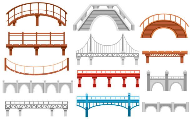 다른 교량의 컬렉션입니다. 도시 건축 평면 아이콘입니다. 벡터 일러스트 레이 션 흰색 배경에 고립 - bridge stock illustrations