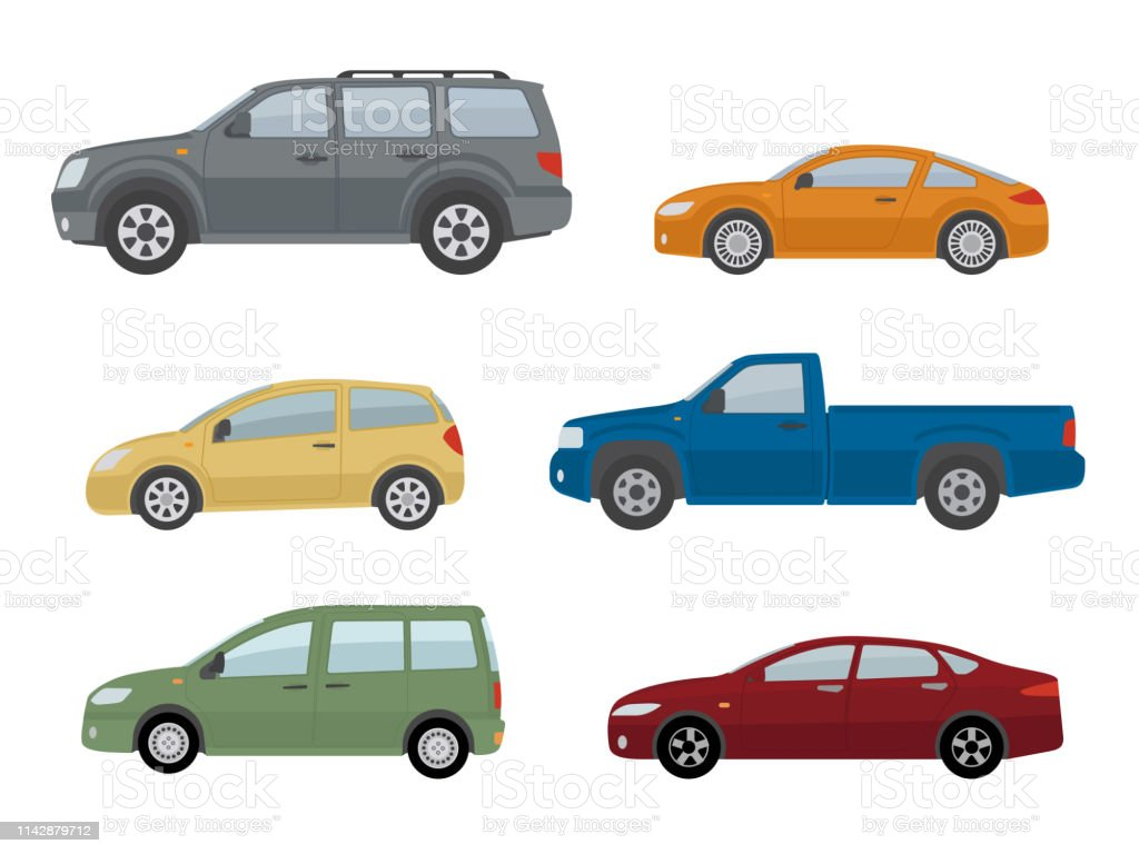 Collection of different cars. Isolated on white background. Collection of different cars. Isolated on white background. Side view. Flat style, vector illustration. Blank stock vector