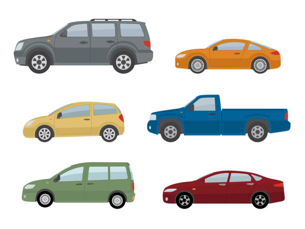 Collection of different cars. Isolated on white background. Collection of different cars. Isolated on white background. Side view. Flat style, vector illustration. side view stock illustrations