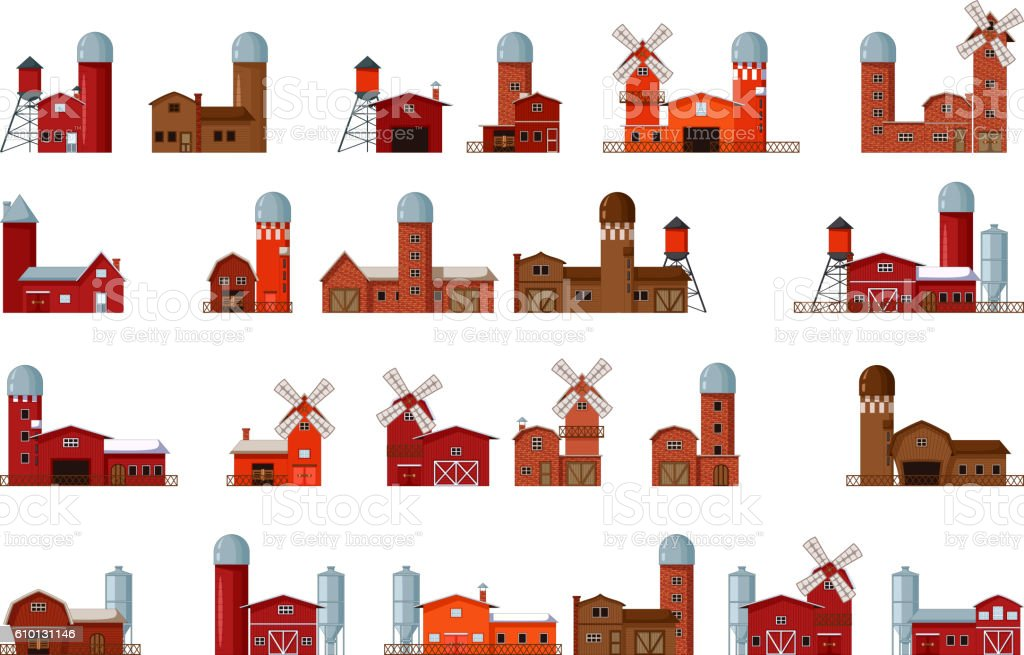 collection of different cartoon farm buildings vector art illustration