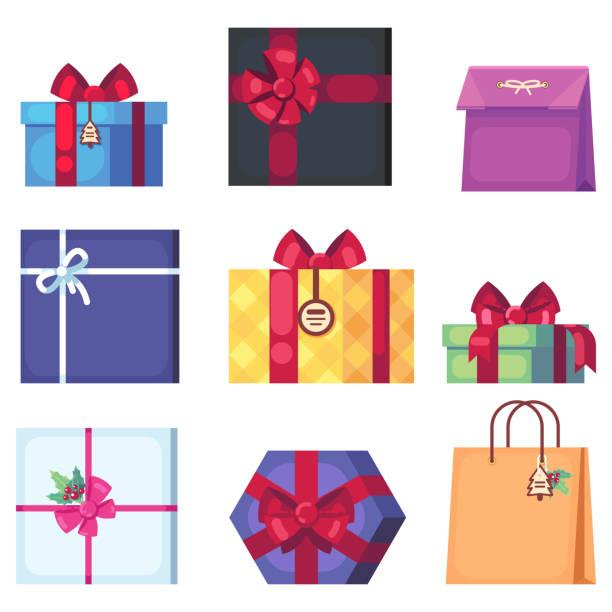 sammlung von verschiedenen cartoon geschenkbox isoliert auf weißem hintergrund. s neujahr und weihnachten hell dekor im flachen stil. bunte geschenkboxen mit bögen - swag stock-grafiken, -clipart, -cartoons und -symbole