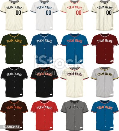 istock Collection of different colored baseball jersey options 505393481