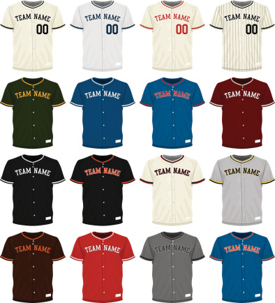 Collection of different colored baseball jersey options
