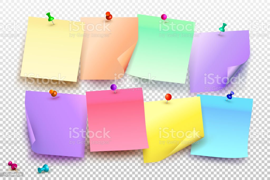 Collection Of Different Colored Sheets Of Note Papers With Curled ...