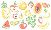 Collection of different fruits drawing hand painted with ink brush isolated on white background. Vector illustration