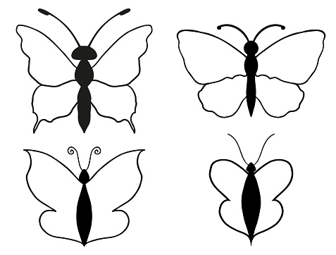 Collection of different hand drawn butterflies.
