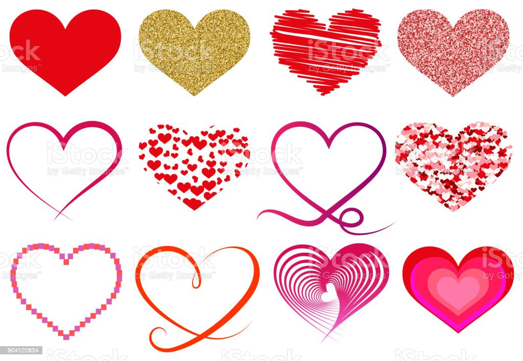 Collection Of Different Heart Shape Symbols Stock Vector Art More