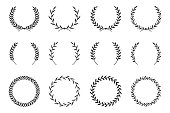 Collection of different laurel wreaths. Hand drawn vector round frames for invitations, greeting cards, quotes, logos, posters and more. Vector illustration