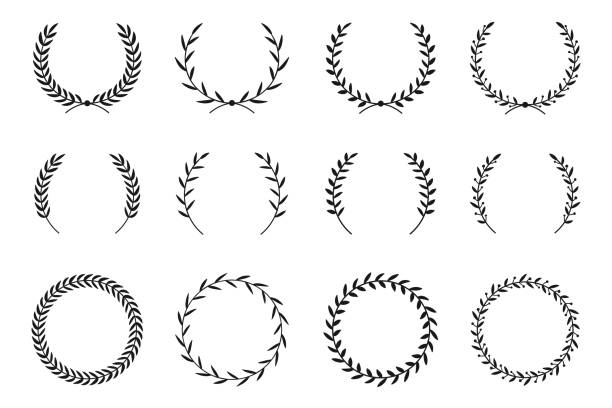 Collection of different laurel wreaths. Hand drawn vector round frames for invitations, greeting cards, quotes, logos, posters and more. Vector Collection of different laurel wreaths. Hand drawn vector round frames for invitations, greeting cards, quotes, logos, posters and more. Vector illustration classical greek stock illustrations